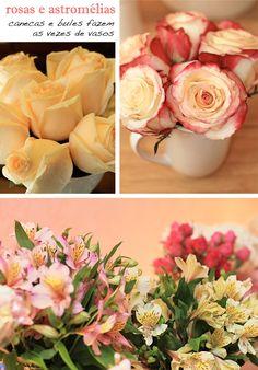 A convite do site, Juliana Françozo, da Happy Happenings, criou um chá-de-cozinha para uma noiva bem feminina! Brincando com os tons de branco, rosa, amare
