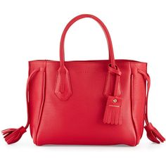 Longchamp Penelope Small Leather Tote Bag (5,175 CNY) ❤ liked on Polyvore featuring bags, handbags, tote bags, ruby, red tote, leather handbags, red leather tote, leather zip tote and red tote bag