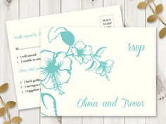 Beach Wedding Rsvp Postcard Template Hawaii Turquoise Printable Destination Response Cards Diy Reply Instant
