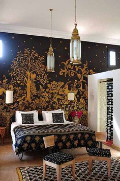 Romantic Moroccan bedroom - What an amazing mural and pendant lights! I love the dark colors.