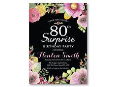 Sorprender a invitación de cumpleaños 80 por happyappleprinting
