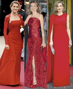 El rojo es uno de los colores preferidos de Doña Letizia, como ejemplo, el vestido que utilizó para la boda del heredero de Dinamarca y el vestido que utilizó para la cena pre-nupcial de la Princesa Victoria. Tres estilos diferentes, un mismo color.