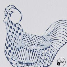 Poule en vibration, sérigraphie sur papier 16x16 de l'atelier Aka
