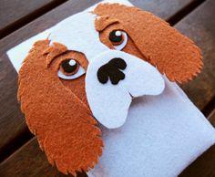 Cavalier king iPhone Case - Dog Felt Phone Cover - Cell Phone Sleeve - Handmade felt case
