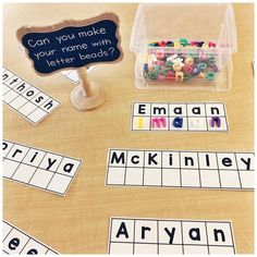 We always start with lots of name activities the first week of school! You can g… - Everything About Kindergarten Kindergarten Name Activities, Kindergarten First Week, Preschool Names, Kindergarten Centers, Preschool Literacy, Kindergarten Classroom, Preschool Activities, Preschool Sign In Ideas, Name Writing Activities