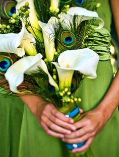 gorgeous green, white & peacock feather themed bouquet