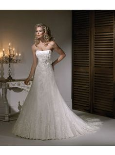[$208.79] Gorgeous A-line Sweetheart Floor-Length Chapel Lace Wedding Dresses