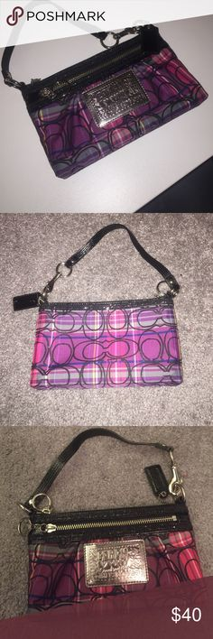 Coach purse Coach purse, small never used. From the poppy edition. Basically like new label on the front says coach. Coach Bags Clutches & Wristlets