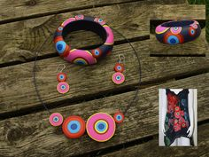 https://flic.kr/p/81RKn3 | Desigual set | Desigual, what a great brand to make jewelry for! A necklace, earrings and matching bracelet, made with katoclay.