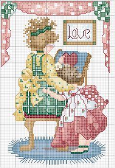 Schema punto croce Ricamatrice 01 Cross Stitch For Kids, Cross Stitch Boards, Just Cross Stitch, Cross Stitch Baby, Cross Stitching, Cross Stitch Embroidery, Embroidery Patterns, Cross Stitch Designs, Cross Stitch Patterns