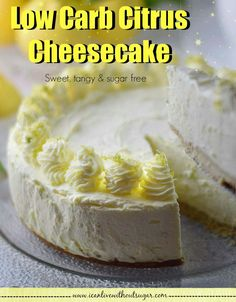 Low carb citrus cheesecake that's bursting with flavour. This low carb citrus cheesecake will blast your tastebuds into orbit. Low Carb Desserts, No Bake Desserts, Low Carb Recipes, Real Food Recipes, Dessert Recipes, Tasty, Yummy Food, Sugar Free, Cheesecake
