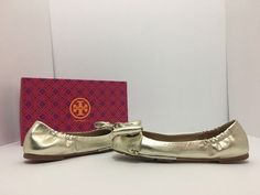 00710b28b42 Tory Burch Gold Leather Divine Bow Driver Ballet Spark Women s Flats Size US  6 Regular (