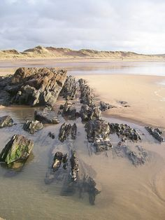 Freshwater West Beach, Pembrokeshire, Wales -- a Harry Potter location. From Liz Foster lightpainting