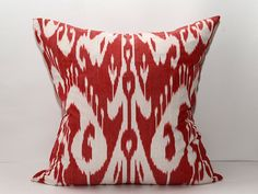 20x20 ikat pillow cover red pillow home decor auhentic by SilkWay, $28.69