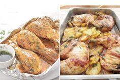 Izquierda: Pollo glaseado. Derecha: Pollo a la Provenzal.