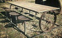 Rustic picnic table!   -via Pinterest at Bent & Broke Welding Co.