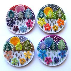 Snowscape Brooches by Applique Originals (Hand Embroidery)