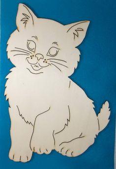 1 Cat wood 19 x 28 cm 10-0016D by SowaKreativ on Etsy