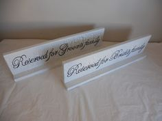 Set of 2 Reserved Seating Table Top Signs/ Freestanding Signs. $66.00, via Etsy.