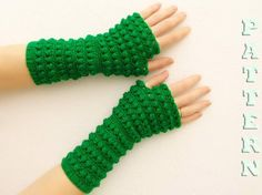 PDF crochet pattern  fingerless gloves, mittens, arm warmers