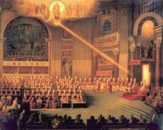 Droit Divin (Goddelijk recht). De koning van Frankrijk had zijn macht rechtstreeks van God gekregen. De koning hoefde aan niemand verantwoording af te leggen. Omdat iedereen gelovig was kon de koning zijn macht makkelijk houden. Als je tegen de koning in ging, ging je ook tegen God in --> je ging dus naar de hel.