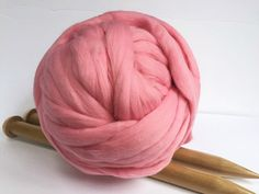 This amazingly beautiful Pink super chunky yarn will look great in any of your DIY projects: Baby blanket or a big Throw blanket for your bedroom or living room. Great gift for yourself or your loved ones.  Color shown in picture: Pink Weight in picture: 2 lbs 1 lbs - about 25 yards  Any amount is available: 2 lbs - $60.00 4 lbs - $120.00 6 lbs - $180.00 8 lbs - $240.00 10 lbs - $295.00  100% Australian Merino sheep wool which is one of the finest and softest in the world. It doesn't itch…