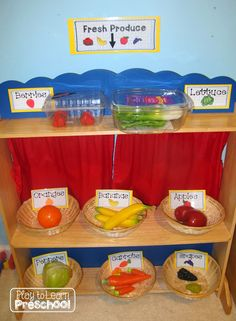 Grocery Store Dramatic Play Center - Play to Learn Dramatic Play Themes, Dramatic Play Area, Dramatic Play Centers, Preschool Food, Preschool Centers, Preschool Lessons, Role Play Areas, Farm Activities, Indoor Activities