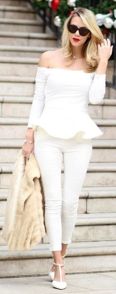 White Peplum Off Shoulder Top