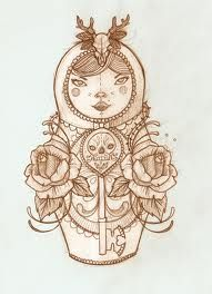 Liz Clements - First Matryoshka doll Liz Clements, Nesting Doll Tattoo, Tattoo Painting, Matryoshka Doll, Great Tattoos, Art For Art Sake, Cute Illustration, Illustrations Posters, Illustrators