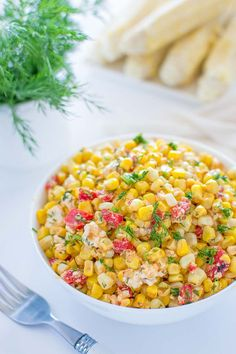 Quick and colorful Corn and Feta Salad is perfect for picnics and hot summer days. Serve this salad as an appetizer, a topping for whole grains or as a salsa with grilled chicken or fish.