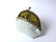 Blue and white floral fabric coin purse by cheekyleopard on Etsy