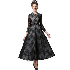 Vintage Lace Dress Long Sleeve O-neck Slim Fit Flare Maxi Long Party   Black Oh Yeah Visit our store