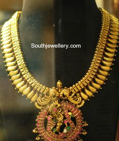 Antique Gold Haram with Kundan Peacock pendant