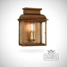 Buy Bailey brass wall lantern - antique brass, Outdoor Wall Lights - Simple Victorian style outdoor wall light in Antique Brass