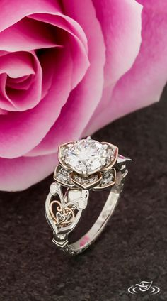 Vintage Rose Halo with Rose Gold Petal Edges and Heart Filigree. Green Lake Jewelry 124224