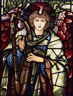 Praising Angel, designed by Edward Burne-Jones, and made by William Morris & Co, 1902. Painted, stained, and leaded glass