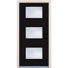 Builder's Choice 36 in. x 80 in. Fairway 3 Lite Rain Glass Painted Fiberglass Prehung Front Door with - The Home Depot Glass Panel Door, Glass Front Door, Glass Panels, Modern Front Door, Front Entry, Front Porch, Modern Garage, Door Entry, House Front