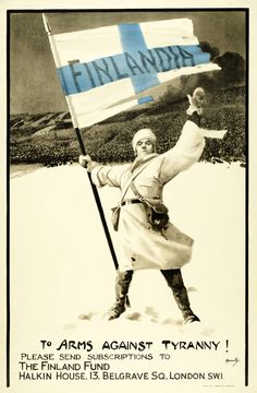 """""""Finlandia to arms against tyranny!"""", Artist: John Hassall Publisher: London: J. Weiner Ltd. ( Pritzker Military Museum & Library) - pin by Paolo Marzioli Ww2 Propaganda Posters, Political Posters, History Of Finland, Finland Travel, Total War, Military History, World War Two, Vintage Posters, Wwii"""