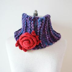 Rose Cowl Scarf in purple and red merino by ValerieBaberDesigns