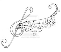 Violen Key And Piano Music Tattoo Design