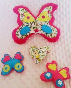 Przytulove Stwory: Motyle i motylki. Dekoracje z materiału.