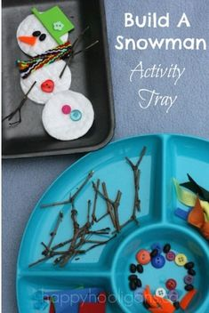 Build A Snowman Activity Tray #wintercrafts