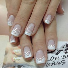 Nails noivas arte nails, french nails y pretty nails French Manicure Nails, French Tip Nails, Trendy Nail Art, Easy Nail Art, Fabulous Nails, Gorgeous Nails, French Nail Designs, Nail Art Designs, Cute Nails