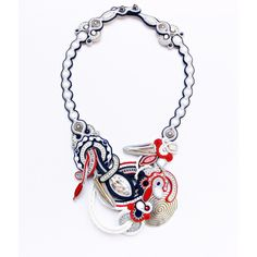 Anchor jewelry. Statement soutache necklace. Navy red -white necklace. ($125) ❤ liked on Polyvore featuring jewelry, necklaces, metal necklace, red bead necklace, white bead necklace, anchor jewelry and swarovski crystal beads necklace