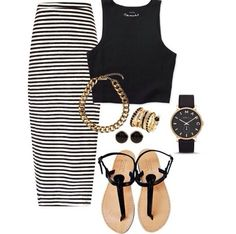 #Crop top | Striped high waisted maxi skirt | #Sandals | #BlackandGold