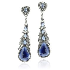 Sutra Sapphire Feather Dangle Earring. Beautiful and unique oxidized 18k white gold earring with sapphire and diamond.
