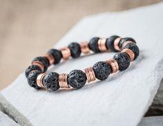 mens beaded bracelet black lava beads and copper by raflsjewelry