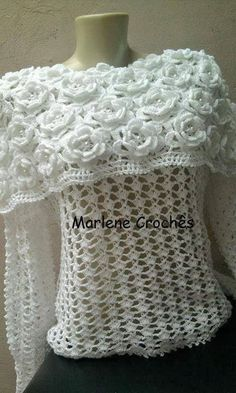Awesome Flower Cape Style Blouse - Free Crochet Chart