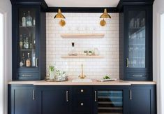 46 Elegant Navy Kitchen Cabinets For Decorating Your Kitchen. Kitchen cabinet colors have come a long way since your mother's kitchen. Wet Bar Cabinets, Navy Blue Kitchen Cabinets, Kitchen Wall Cabinets, Kitchen Cabinet Colors, Built In Cabinets, Storage Cabinets, Built In Bar Cabinet, Kitchen Buffet Cabinet, Navy Cabinets