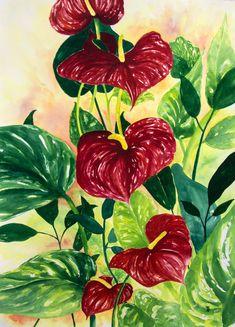 Vibrant Tropical Anthurium Watercolor Fine Art Print in Various Sizes